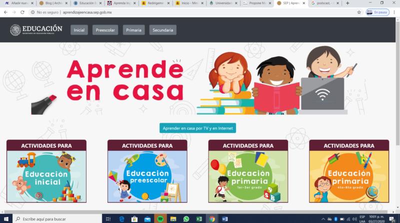 SEP (2020, 27 de marzo) Aprende en Casa. Recupeardo de http://educacionbasica.sep.gob.mx/