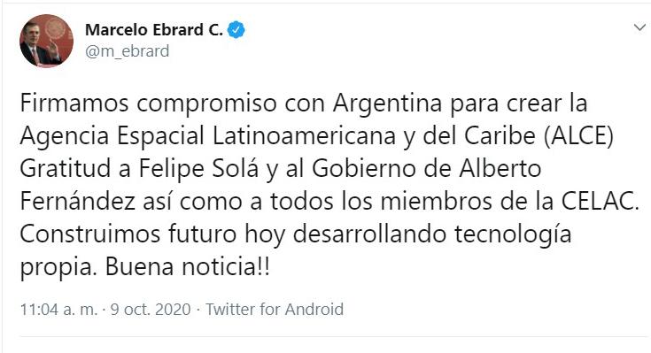 Marcelo Ebrard y Felipe Solá firman compromiso para la creación de la Agencia Espacial Latinoamericana y del Caribe.