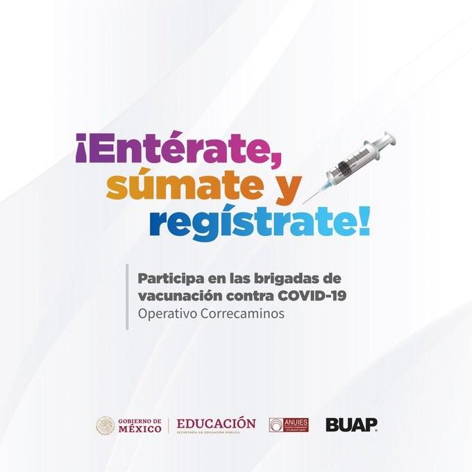 """Puebla, Pue. Abre convocatoria la Benemérita Universidad Autónoma de Puebla (BUAP), para que sus estudiantes del Área de Medicina y sectores afines, colaboren como voluntarios en las brigadas de vacunación contra el covid-19. Podrán colaborar como miembros del Operativo Correcaminos, programa especial de acción en materia de salubridad general para la vacunación. Estas brigadas son conformadas para ser la aplicación masiva del antídoto entre las y los miembros del personal de salud y de las fases posteriores. """"Atención estudiantes de las licenciaturas del Área de la Salud y afines, se les convoca a participar como voluntarios en las brigadas de #Vacunación contra Covid19"""", lo público el rector de la máxima casa de estudios, Alfonso Esparza Ortiz, en su cuenta de Twitter."""